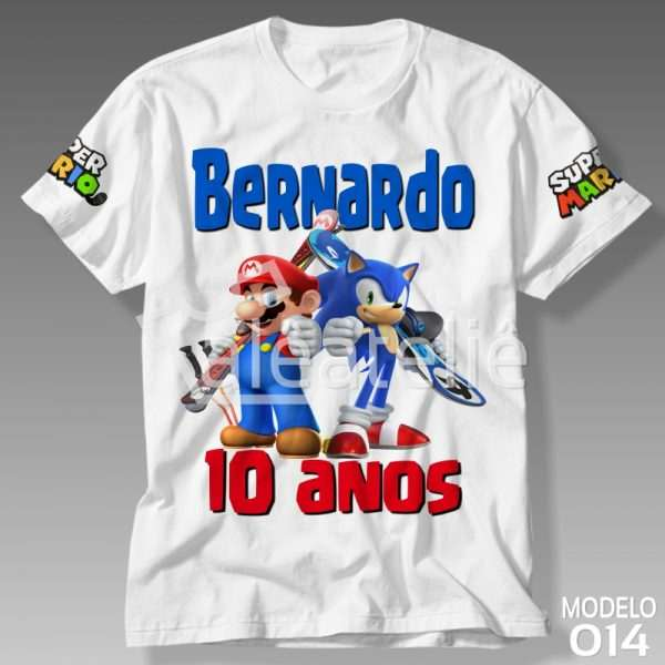 Camiseta Mario Sonic Personalizada