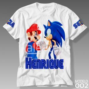 Camiseta Sonic e Mario Bros