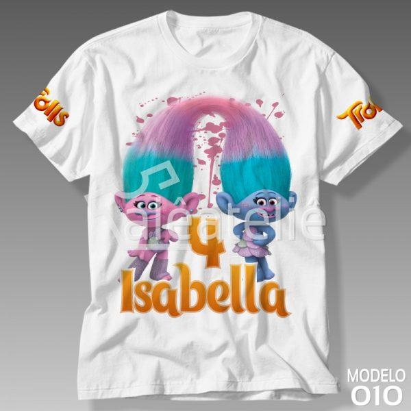 Camiseta Trolls Cetim Chenille