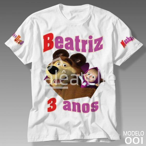 Camiseta Masha e o Urso Personalizada