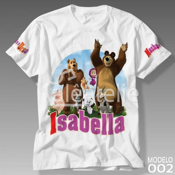Camiseta Masha Urso Personalizada