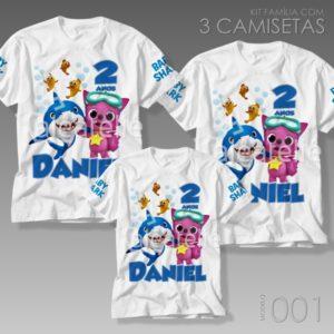 Kit 3 Camisetas Baby Shark