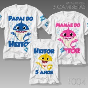 Kit 3 Camisetas Baby Shark 004