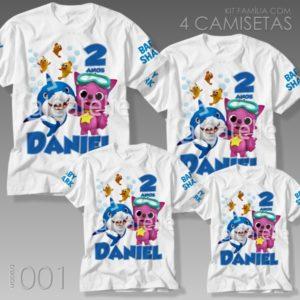 Kit 4 Camisetas Baby Shark 001