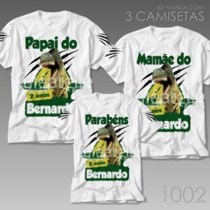 Kit 3 Camisetas Dinossauro 002
