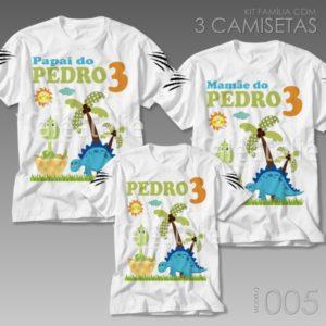 Kit 3 Camisetas Dinossauro 005