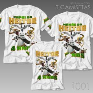 Kit 3 Camisetas Kung Fu Panda