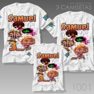 Kit 3 Camisetas Mini Beat Power Rockers