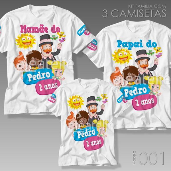 Kit 3 Camisetas Mundo Bita